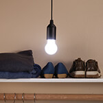 New - Pull Cord Hanging LED Light Bulbs, Set of 2