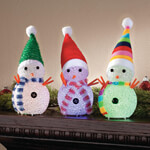Decorations & Accents - Color-Changing Snowmen, Set of 3