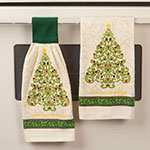 New - Damask Christmas Tree Kitchen Towel Set