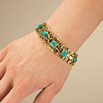 Jewelry Collection - Goldtone Magnetic Turquoise Bracelet