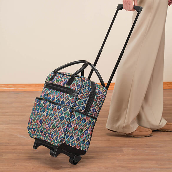 Diamond tapestry Rolling Tote