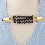 New - Black Beaded Sweater Clip