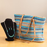 New - Woven Stripe Bag with Jewelry Set