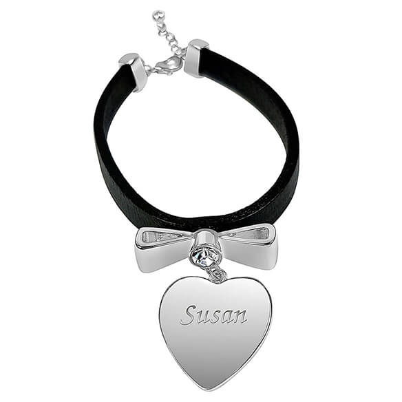 Personalized Leather Bracelet with Heart