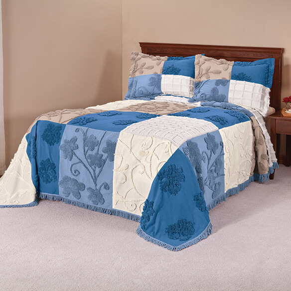 Patchwork Bedspread/Sham Queen Blue by OakRidge™ - View 1