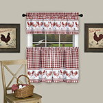 New - Rooster Barnyard Red Kitchen Tier and Valance Set