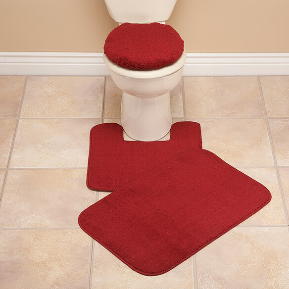 burgundy toilet seat cover.  Plush Bath Rug Set View 2 Toilet Seat Cover And Walter Drake
