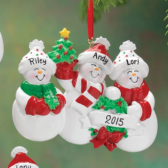 Personalized Snow Family Ornament - View 3