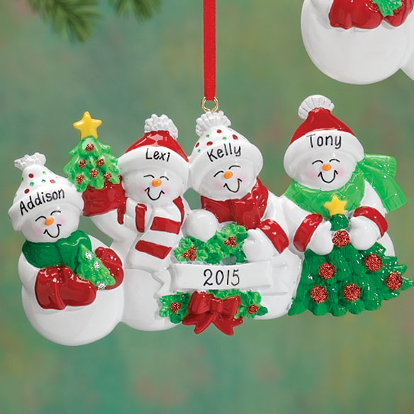 Personalized Snow Family Ornament - View 4