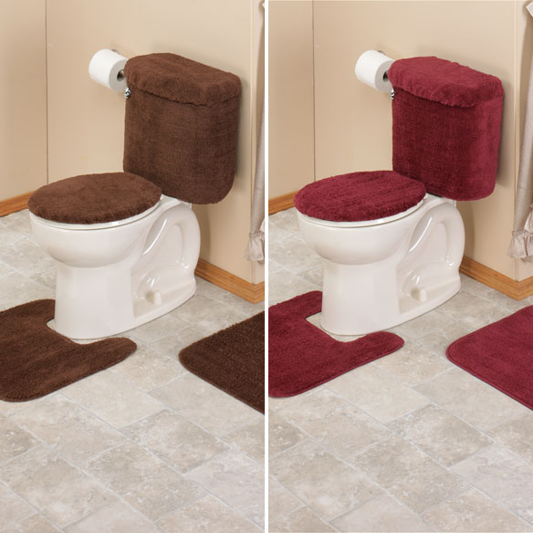 burgundy toilet seat cover.  5 Piece Bath Set View 4 Bathroom Walter Drake