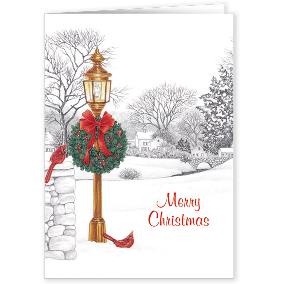 Personalized Lamppost Christmas Card Set of 20 - View 2