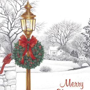 Lamppost Christmas Card Pers Set of 20 - View 4