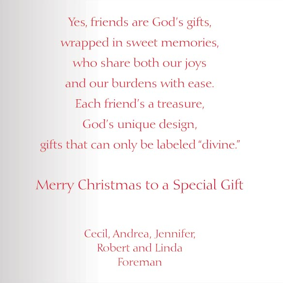 Friends are God's Gifts Christmas Card Set of 20 - View 4