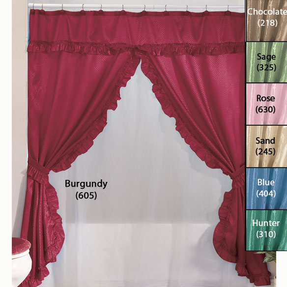 Double Swag Shower Curtains With Valance - View 2