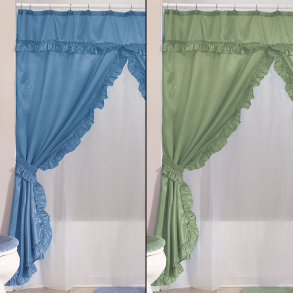 ... Double Swag Shower Curtains With Valance   View 3 ...