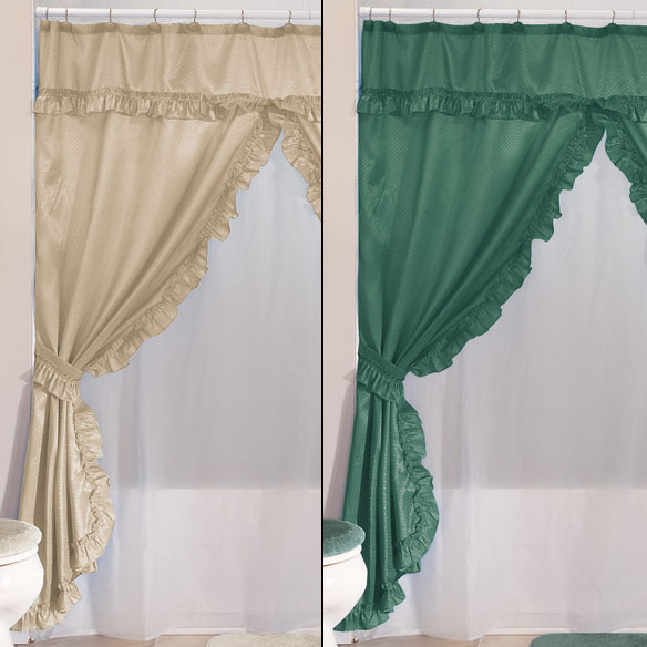 Double Swag Shower Curtains With Valance - View 4