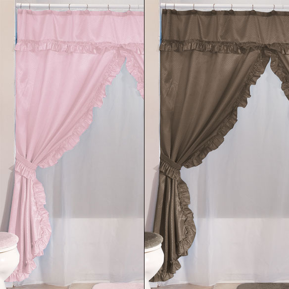 ... Double Swag Shower Curtains With Valance   View 5