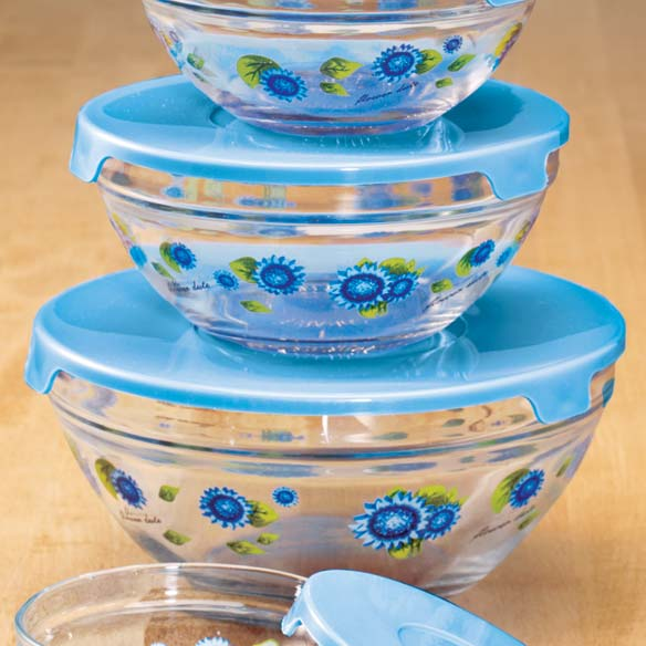 Floral Glass Bowls - Set of 5 - View 3
