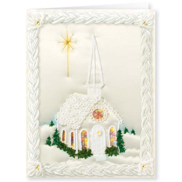 Personalized Satin Chapel Christmas Card Set of 20 - View 2