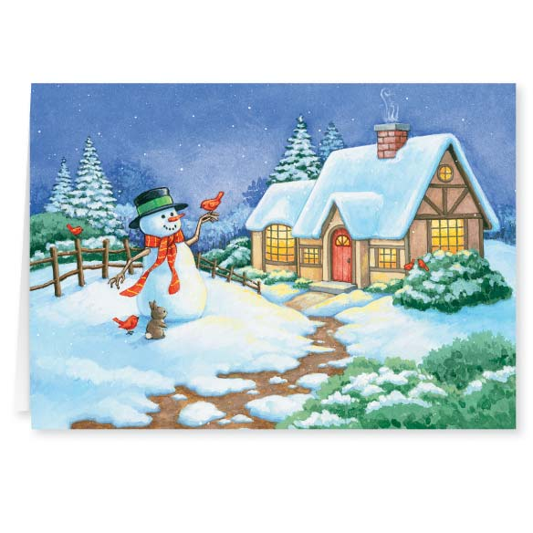 Snowman Cottage Christmas Card - Set of 20 - View 2