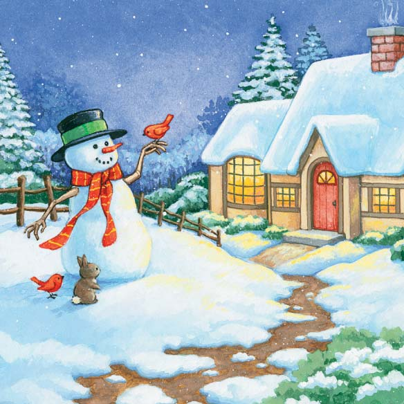 Snowman Cottage Christmas Card - Set of 20 - View 4