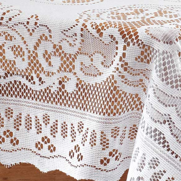 White Fleur De Lis Lace Table Cloth - View 2