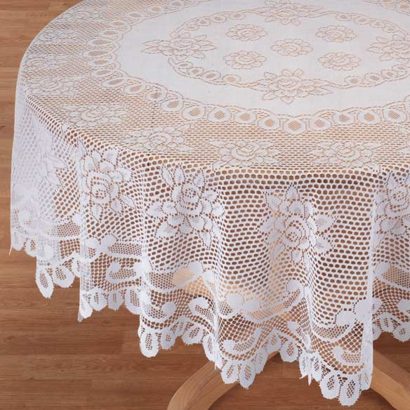 White Rose Lace Table Cloth - View 2
