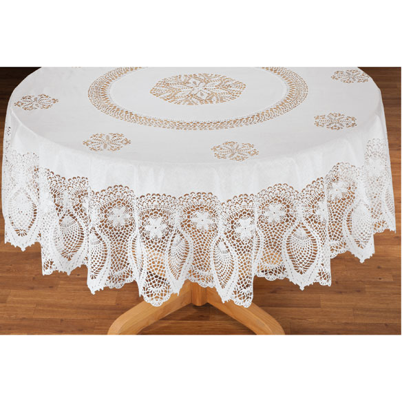 vinyl lace tablecloth kitchen walter drake - Kitchen Table Covers Vinyl