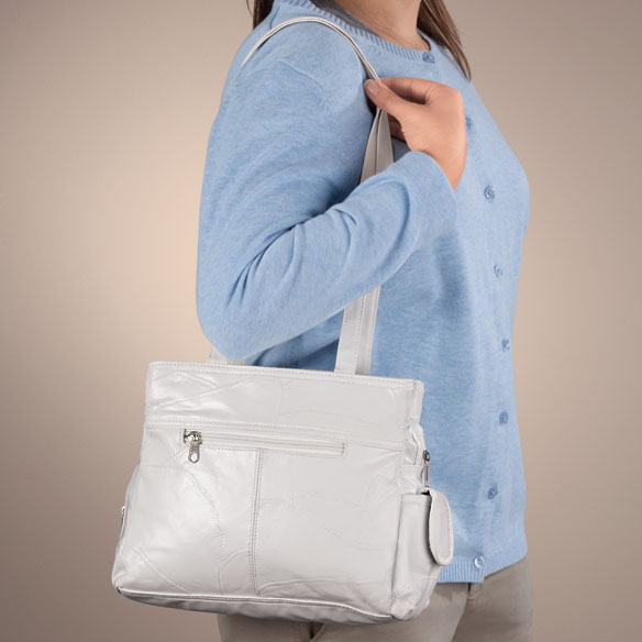 White Leather Handbag - View 2
