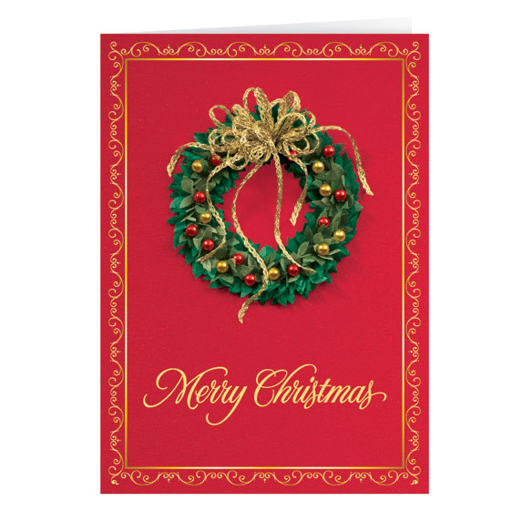 Satin Wreath Christmas Card Set of 20 - View 2