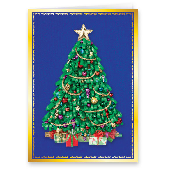 Satin Tree Christmas Card Set of 20 - View 2