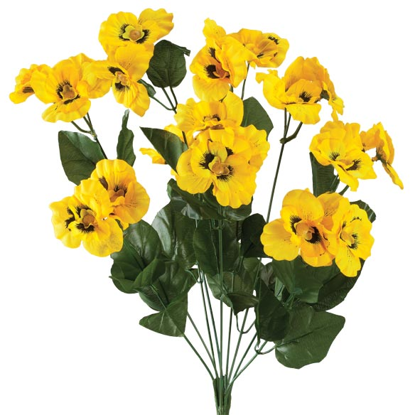 Artificial Yellow Pansies - View 2