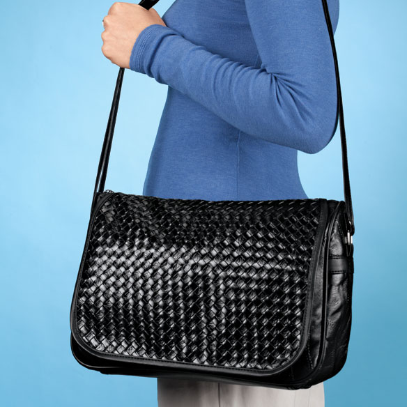 Basketweave Bag with Flap - View 2