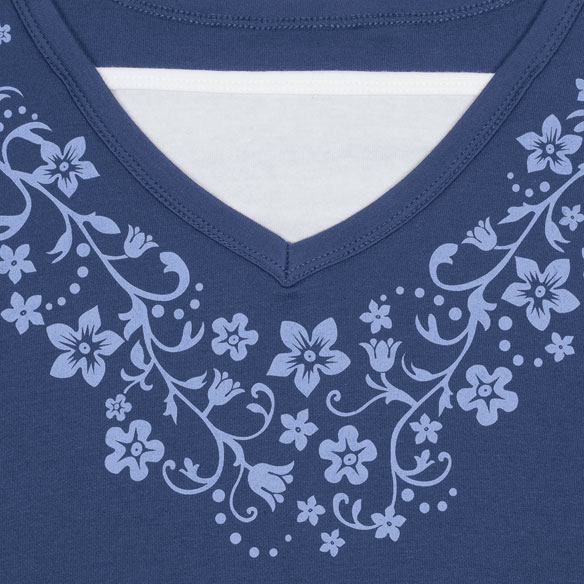 Winter 3/4 Sleeve Floral V-Neck Shirt - View 5