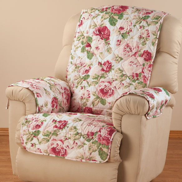 English Floral Microfiber Recliner Cover - View 2