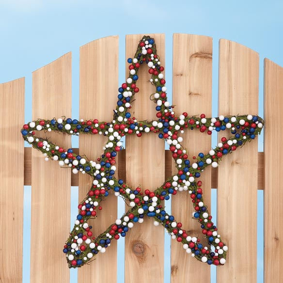 Grapevine Patriotic Berry Star Wreath - View 2