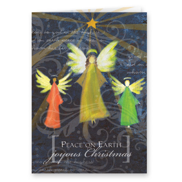Joyous Angel Trio Non Personalized Christmas Card, Set of 20 - View 2