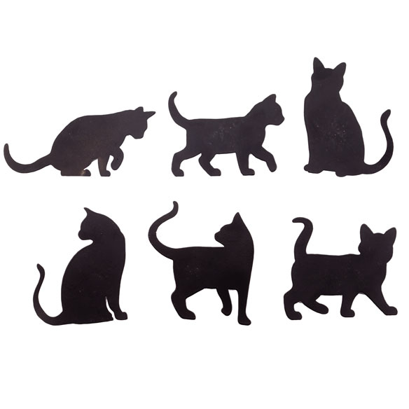 Cat Silhouette Fridge Magnets - Set of 6 - View 2