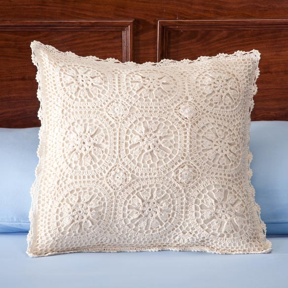 Vintage Medallion Crocheted Pillow Cover - View 2