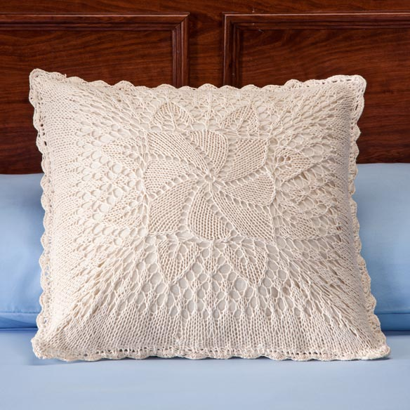 Classic Windmill Crocheted Pillow Cover - View 2