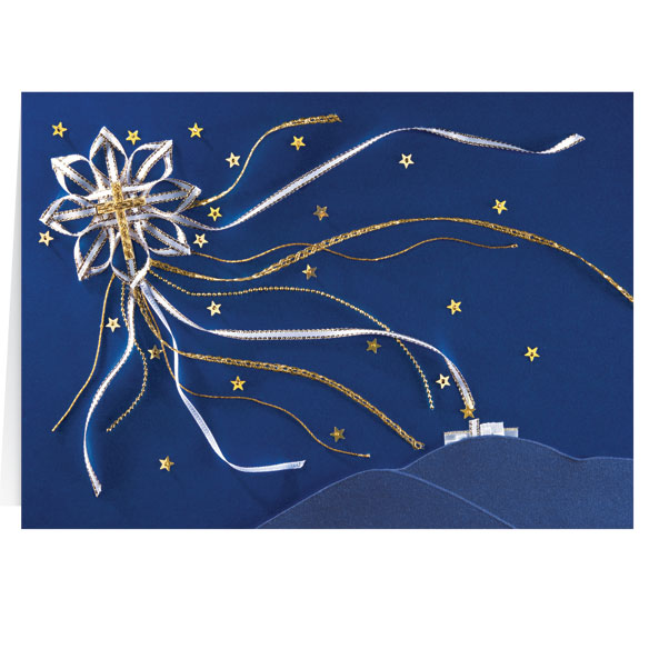 Satin Star of Bethlehem Personalized Christmas Card - Set of 20 - View 2
