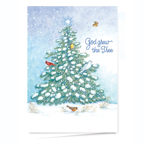 God Grew the Tree Personalized Christmas Card - Set of 20 - View 2