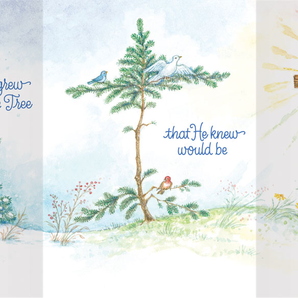 God Grew the Tree Personalized Christmas Card - Set of 20 - View 3