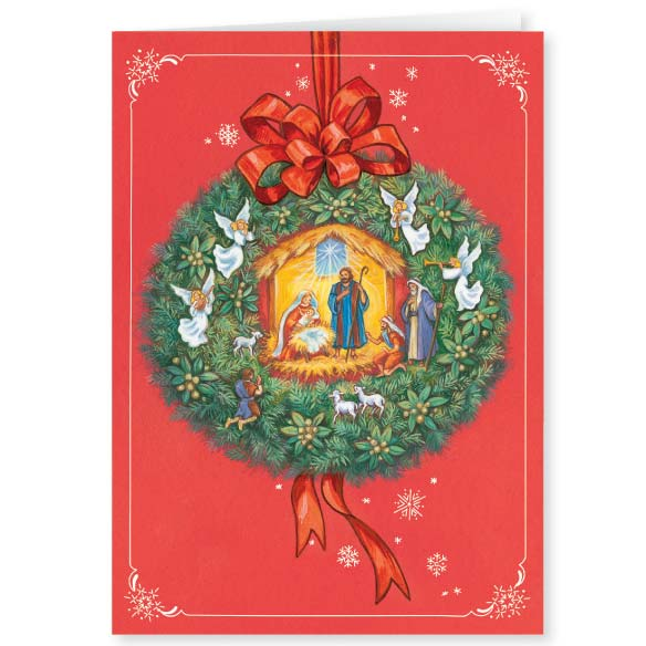 Nativity Wreath Christmas Cards, Set of 20 - View 2