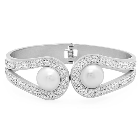 Faux Pearl and CZ Cuff Bracelet - View 2