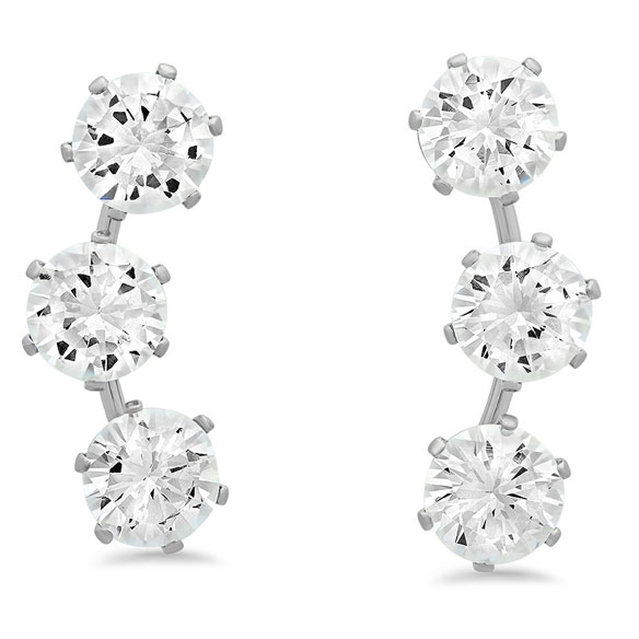 CZ Ear Climber Earrings - View 2