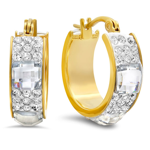 CZ and Crystal Hoop Earrings - View 2