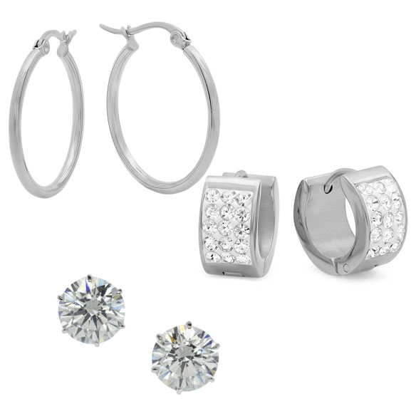 Set of 3 CZ Earrings - View 2