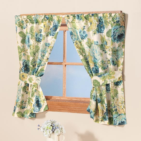 English Floral Window Curtains - View 2