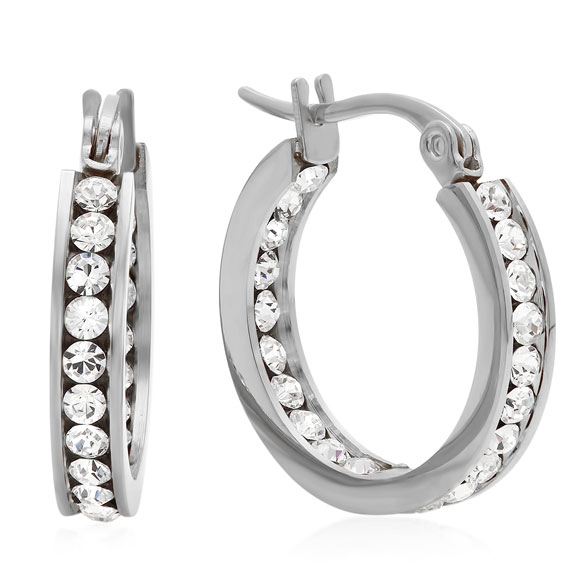 Swarovski Elements Hoop Earrings - View 3